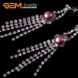 G4571 8-9mm Purple Freshwater Pearl Gold Plated Rhinestone Dangle Stud Earrings1 Pair for Ladies Fashion Jewelry Jewellery
