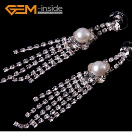 G4572 8-9mm White Freshwater Pearl Gold Plated Rhinestone Dangle Stud Earrings1 Pair for Ladies Fashion Jewelry Jewellery