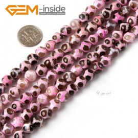 "G4720 Pink Round Faceted Gemstone Football Fire Agate Loose Beads Strand 15"" Natural Stone Beads for Jewelry Making Wholesale"