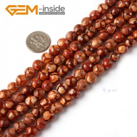 "G4722 Orange Round Faceted Football Color Fire Agate Loose Beads Strand 15"" Natural Stone Beads for Jewelry Making Wholesale"