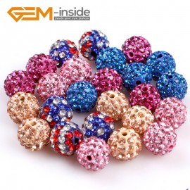 G4968 mixed color 10mm Fashion Pave Rhinestones Crystal Ball Jewelry Making Beads 10 Pcs Wholesale Natural Stone Beads for Jewelry Making Wholesale
