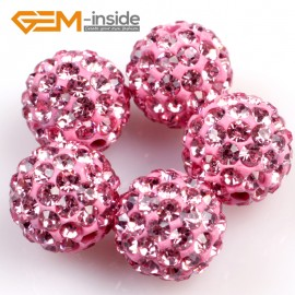 G4971 pink 10mm Fashion Pave Rhinestones Crystal Ball Jewelry Making Beads 10 Pcs Wholesale Natural Stone Beads for Jewelry Making Wholesale