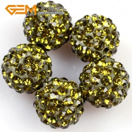 G4993 green yellow 10mm Fashion Pave Rhinestones Crystal Ball Jewelry Making Beads 10 Pcs Wholesale Natural Stone Beads for Jewelry Making Wholesale