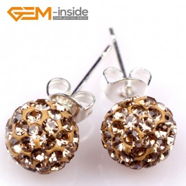 G5001 light coffee/8mm Pave Shining Rhinestones Crystal Ball Silver Plated Stud Earrings  Ladies Earrings Fashion Jewelry Jewellery