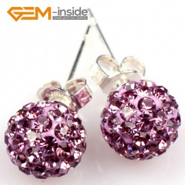 G5005 violent/8mm Pave Shining Rhinestones Crystal Ball Silver Plated Stud Earrings  Ladies Earrings Fashion Jewelry Jewellery