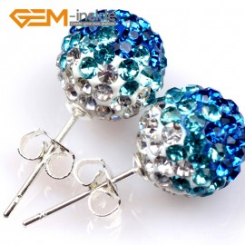 G5007 sapphire blue 10mm Pave Fashion Crystal Rhinestones Ball Silver Plated Stud Earrings  Ladies Earrings Fashion Jewelry Jewellery