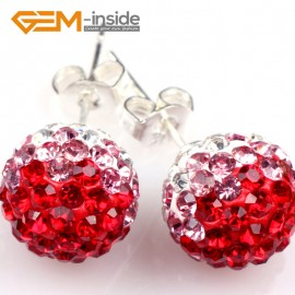 G5010 red 10mm Pave Fashion Crystal Rhinestones Ball Silver Plated Stud Earrings  Ladies Earrings Fashion Jewelry Jewellery