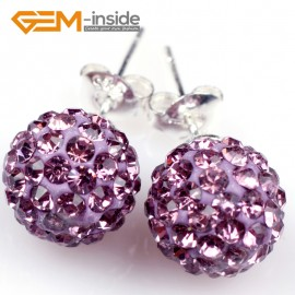 G5016 purple 10mm Pave Fashion Crystal Rhinestones Ball Silver Plated Stud Earrings  Ladies Earrings Fashion Jewelry Jewellery