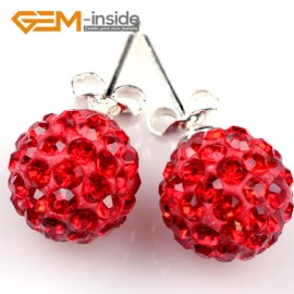 G5017 red 10mm Pave Fashion Crystal Rhinestones Ball Silver Plated Stud Earrings  Ladies Earrings Fashion Jewelry Jewellery