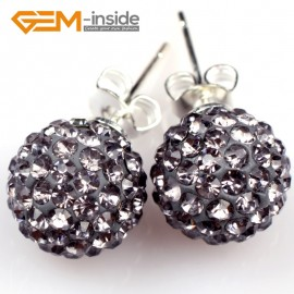 G5018 gray 10mm Pave Fashion Crystal Rhinestones Ball Silver Plated Stud Earrings  Ladies Earrings Fashion Jewelry Jewellery
