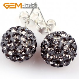 G5021 gray grey 10mm Pave Fashion Crystal Rhinestones Ball Silver Plated Stud Earrings  Ladies Earrings Fashion Jewelry Jewellery