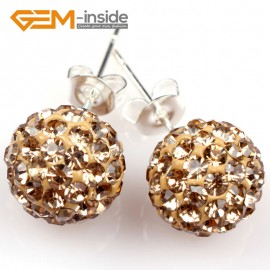 G5022 gold yellow 10mm Pave Fashion Crystal Rhinestones Ball Silver Plated Stud Earrings  Ladies Earrings Fashion Jewelry Jewellery