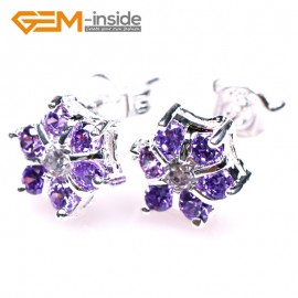 G5025 Amethyst-8mm Fashion Jewelry Rhinestone Crystal Silver Plated Stud Earrings Sparkle CZ 1 Pair Ladies Birthstone Earrings Fashion Jewelry Jewellery
