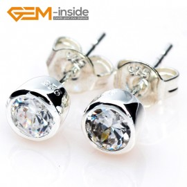 G5027 column / clear white /6mm Fashion Sparkle Sharp Section Cut Clear CZ Crystal Silver Stud Earrings Gbeads  Ladies Earrings Fashion Jewelry Jewellery