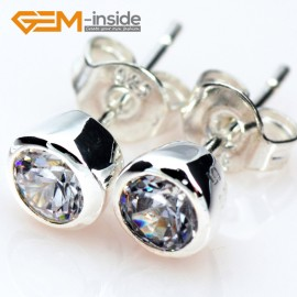 G5028 Vertebral / clear white / 6mm Fashion Sparkle Sharp Section Cut Clear CZ Crystal Silver Stud Earrings Gbeads  Ladies Earrings Fashion Jewelry Jewellery