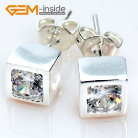 G5029 cube / clear white / 6mm Fashion Sparkle Sharp Section Cut Clear CZ Crystal Silver Stud Earrings Gbeads  Ladies Earrings Fashion Jewelry Jewellery