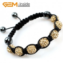 "G5049 yellow golden 10mm Pave Sparkle Crystal 7 Ball Beads Jewelry Bracelet Adjustable Size 6""-8"" Fashion Jewelry Jewellery Bracelets  for women"