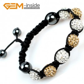 "G5059 white & golden 10mm Pave Sparkle Crystal 7 Ball Beads Jewelry Bracelet Adjustable Size 6""-8"" Fashion Jewelry Jewellery Bracelets  for women"