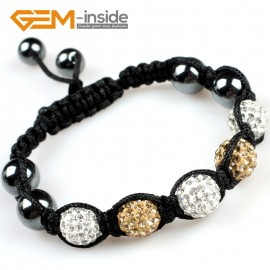 """G5099 white and golden 10mm Gemstone Pave Sparkle Crystal 5 Ball Beads Bracelet Adjustable 6""""-8"""" Fashion Jewelry Jewellery Bracelets  for women"""