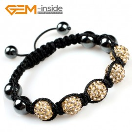 "G5114 yellow gold 10mm Gemstone Pave Sparkle Crystal 5 Ball Beads Bracelet Adjustable 6""-8"" Fashion Jewelry Jewellery Bracelets  for women"