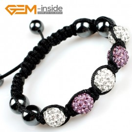 "G5119 white and violet 10mm Gemstone Pave Sparkle Crystal 5 Ball Beads Bracelet Adjustable 6""-8"" Fashion Jewelry Jewellery Bracelets  for women"