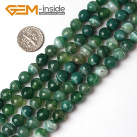 """G5226 8mm Round Faceted Green Sardonyx Agate Gemstone Loose Beads Strand 15"""" Free Shipping Natural Stone Beads for Jewelry Making Wholesale"""