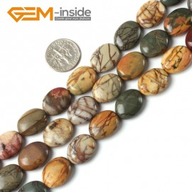 """G5256 12x16mm Oval Picasso Jasper Gemstone Beads Strand 15""""  