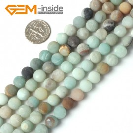 "G5259 8mm Round Frost Mixed Color Amazonite Gemstone Loose Beads Strand 15"" Natural Stone Beads for Jewelry Making Wholesale"