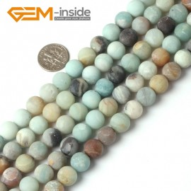 """G5260 10mm Mixed Color Round Frost Mixed Color Amazonite Gemstone Jewelry Making Loose Beads Strand 15"""" Natural Stone Beads for Jewelry Making Wholesale"""