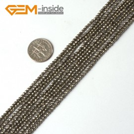 "G5323 2mm Round Faceted Gemstone Silver Gray Natural Pyrite Loose Beads Strand 15"" Natural Stone Beads for Jewelry Making Wholesale"