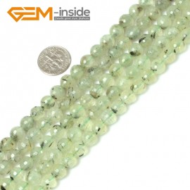 "G5410 8mm Natural Round Faceted Prehnite Beads Jewelry Making Loose Beads15"" Free Shipping Natural Stone Beads for Jewelry Making Wholesale"