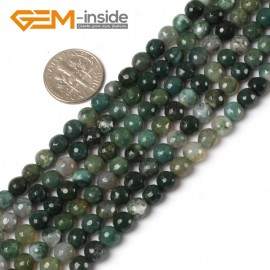 "G5459 6mm Natural Round Faceted Green Moss Agate Gemstone DIY Jewelry Making Beads Strand 15"" Natural Stone Beads for Jewelry Making Wholesale"