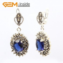 G5871 Faceted blue crystal G-Beads Fashion oval beads Marcasite silver dangle stud hoop earring  Ladies Birthstone Earrings Fashion Jewelry Jewellery