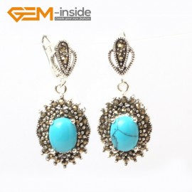 G5873 Dyed blue turquoise G-Beads Fashion oval beads Marcasite silver dangle stud hoop earring  Ladies Birthstone Earrings Fashion Jewelry Jewellery