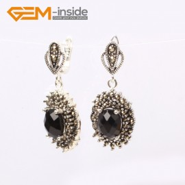 G5874 Faceted black agate G-Beads Fashion oval beads Marcasite silver dangle stud hoop earring  Ladies Birthstone Earrings Fashion Jewelry Jewellery