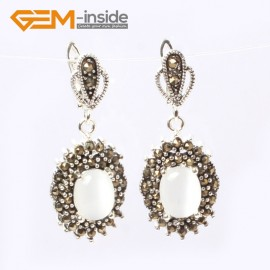 G5875 White cat eye G-Beads Fashion oval beads Marcasite silver dangle stud hoop earring  Ladies Birthstone Earrings Fashion Jewelry Jewellery