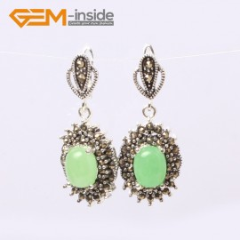 G5877 Dyed green jade G-Beads Fashion oval beads Marcasite silver dangle stud hoop earring  Ladies Birthstone Earrings Fashion Jewelry Jewellery