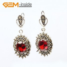 G5878 Faceted red crystal G-Beads Fashion oval beads Marcasite silver dangle stud hoop earring  Ladies Birthstone Earrings Fashion Jewelry Jewellery