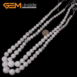 "G5990 6-14mm Frost Crackle White Quartz Graduated Gemstone Loose Beads Strand 15"" Natural Stone Beads for Jewelry Making Necklace Wholesale"