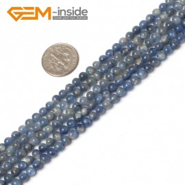 "G5994 4mm Round Gemstone Natural Blue Kyanite Beads Stone Strand 15"" Natural Stone Beads for Jewelry Making Wholesale"