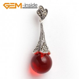 G6045 red crystal Fashion 16mm round beads Marcasite silver pendant 16x50mm FREE chain+gift box Pendants Fashion Jewelry Jewellery