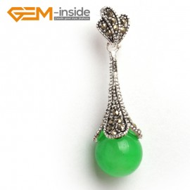 G6068 dyed green jade fashion12mm round colorful beads Marcasite silver pendant FREE gift box +chain Pendants Fashion Jewelry Jewellery