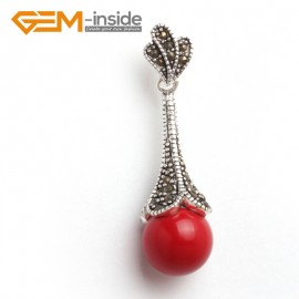 G6071 man-made  red coral fashion12mm round colorful beads Marcasite silver pendant FREE gift box +chain Pendants Fashion Jewelry Jewellery