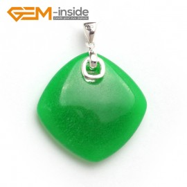 G6081 dyed green jade fashion rhombus beads Marcasite silver pendant 33x43mm FREE gift box +chain Pendants Fashion Jewelry Jewellery