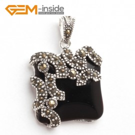 G6090 black agate FASHION square beads Marcasite silver pendant 21x33mm FREE gift box +chain Pendants Fashion Jewelry Jewellery