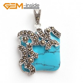 G6091 blue turquoise FASHION square beads Marcasite silver pendant 21x33mm FREE gift box +chain Pendants Fashion Jewelry Jewellery