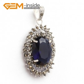 G6102 faceted blue crystal oval beads Marcasite silver pendant 20x40mm 1 pcs FREE gift box +chain Pendants Fashion Jewelry Jewellery