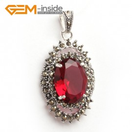 G6103 faceted red crystal oval beads Marcasite silver pendant 20x40mm 1 pcs FREE gift box +chain Pendants Fashion Jewelry Jewellery