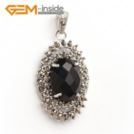 G6104 faceted black crystal oval beads Marcasite silver pendant 20x40mm 1 pcs FREE gift box +chain Pendants Fashion Jewelry Jewellery