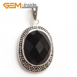 G6113 faceted black agate FASHION oval beads Marcasite silver pendant 20x36mm 1 PCS FREE gift box +chain Pendants Fashion Jewelry Jewellery